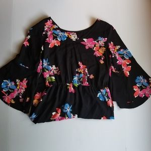 A New Day Floral Tiered Bell Sleeves Black Dress M